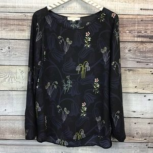 LOFT Lg Blouse Long Sleeve Black Blue Floral 0162
